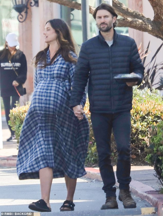 Holding hands: Brandon Jenner held hands with wife Cayley Stoker on Monday as they grabbed lunch together in Malibu, California