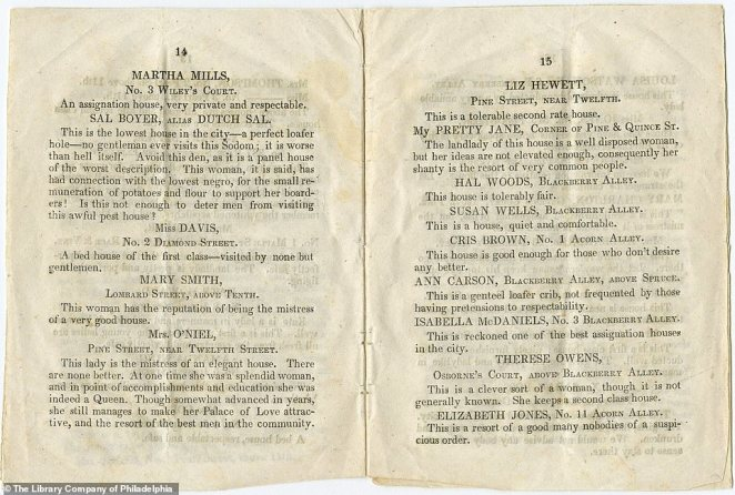 At the time the pamphlet was written, there were an estimated 10,000 prostitutes working in Philadelphia, it was claimed