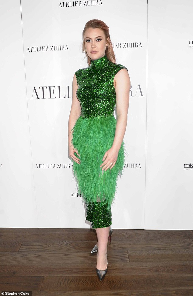Feathered fancy: Camilla Kerslake was putting in an appearance at the Atelier Zuhra show