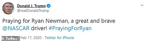 President Donald Trump tweeted on Monday night that he was praying for Newman