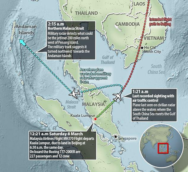 A graphic shows the flight path of the aircraft and where it has probably disappeared