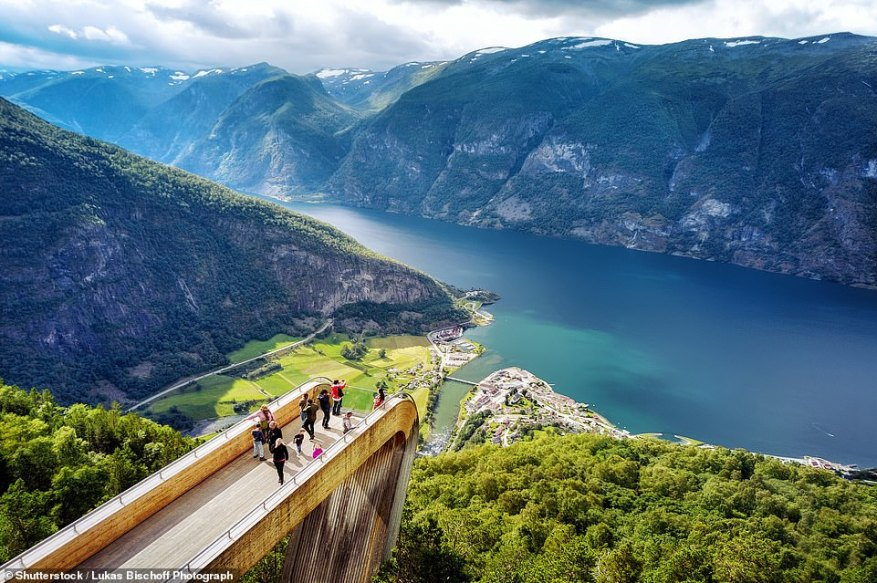 The Stegastein Viewpoint gives visitors panoramic views ofAurlandsfjord, from 2,130ft (650 metres) above ground. The platform opened in 2006 and juts out 98ft (30 metres) from the mountainside