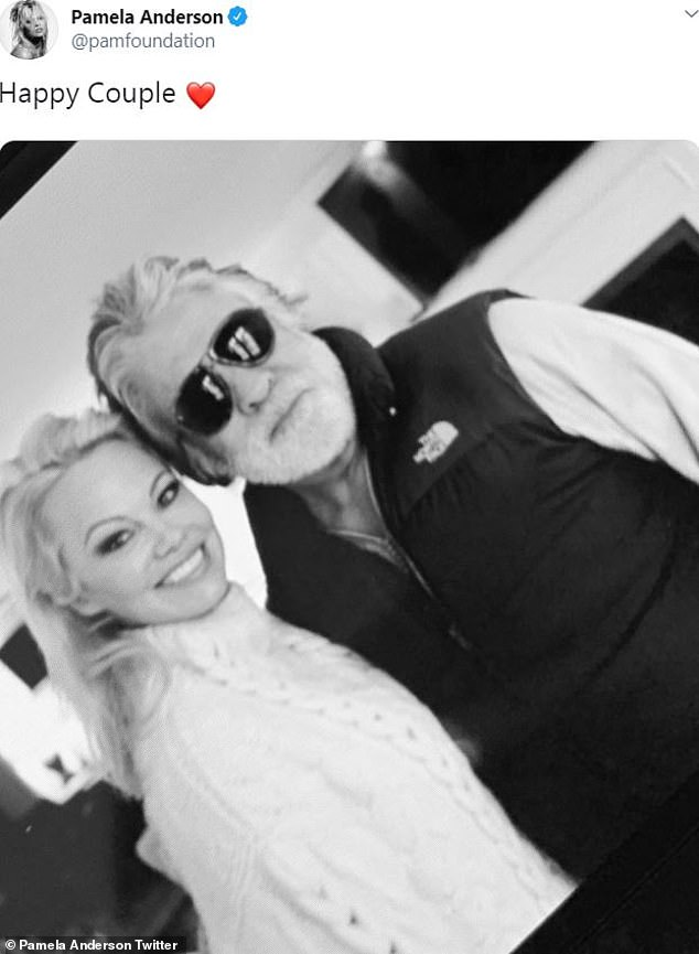 Happier times: Jon Peters is already engaged to another woman, just three weeks after his split from Pamela Anderson. The former couple seen here