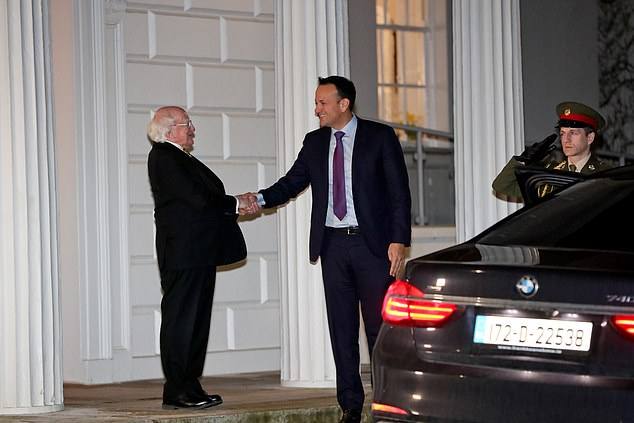Leo Varadkar departing and shaking hand with President Higgins after tendering his resignation today