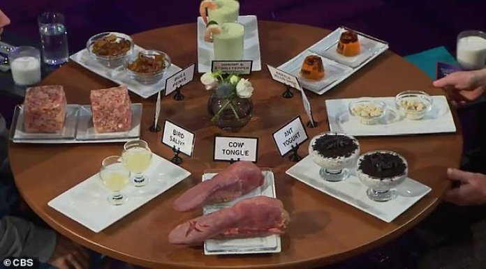 Nasty choices: Justin and James could choose from items ranging from bird saliva to cow tongue to ant yogurt