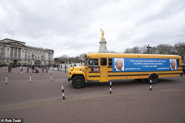 The yellow bus drove through central London and around the perimeter of the palace