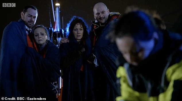 Heartbreaking: Dennis was unconscious when he was rescued and paramedics pronounced him dead at the scene, as the rest of the characters on the boat watched on