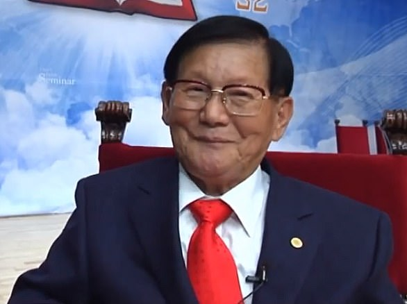Lee Man-Hee (pictured), whose cult has 74 churches in South Korea, is considered by 120,000 followers to be 'immortal' and even the second coming of Jesus Christ