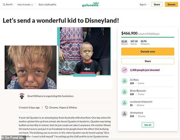 'I'm setting up this GoFundMe to let Quaden know that bullying will not be tolerated, and that he is a wonderful human being who deserves joy,' Williams wrote on the GoFundMe page