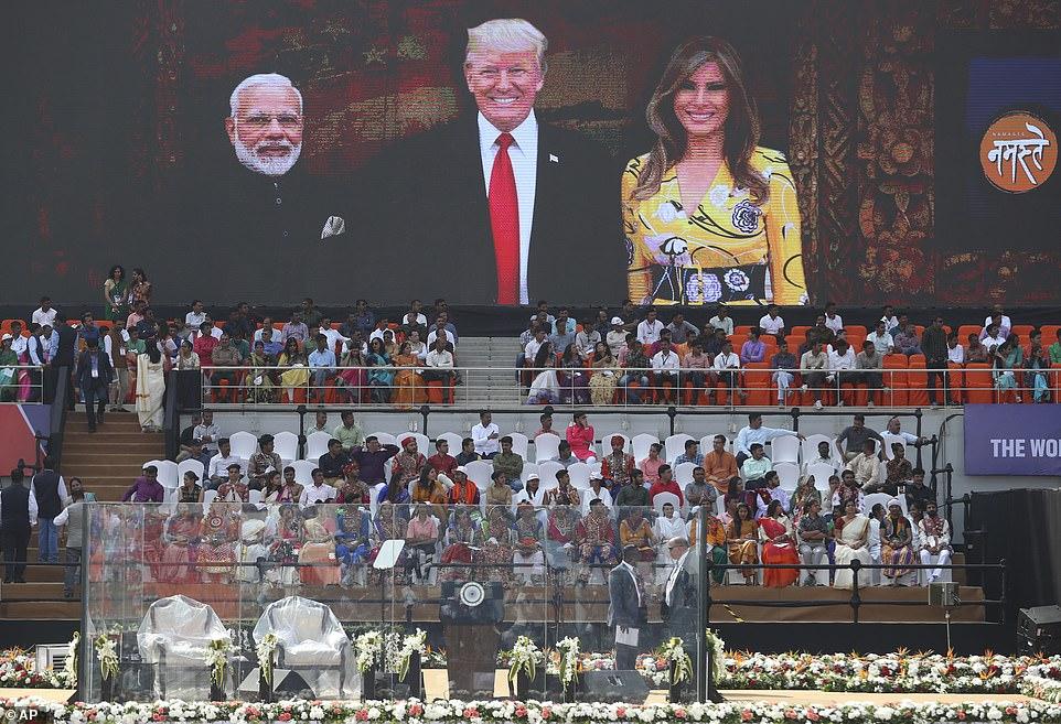 The area where President Trump and Prime Minister Narendra Modi will speak in the stadium
