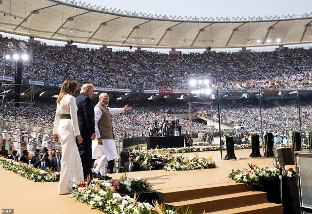 President Donald Trump, first lady Melania Trump, and Indian Prime Minister Narendra Modi arrive for a 'Namaste Trump' event at Sardar Patel Stadium