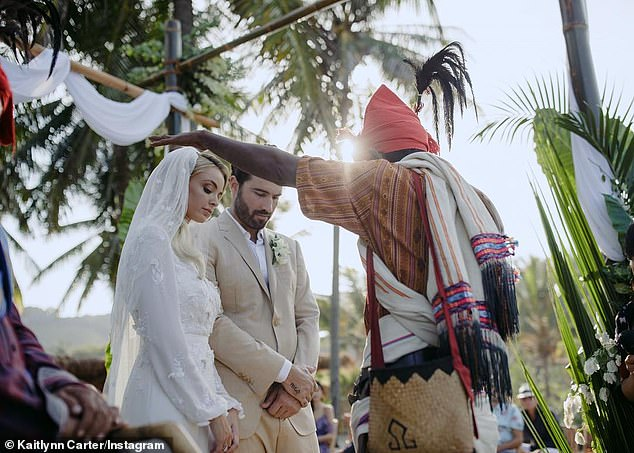 Fake:The reality stars' 2018 ceremony was officiated by two Sumbanese priests at the Nihi Sumba resort in Indonesia, but it was not legally binding in the States
