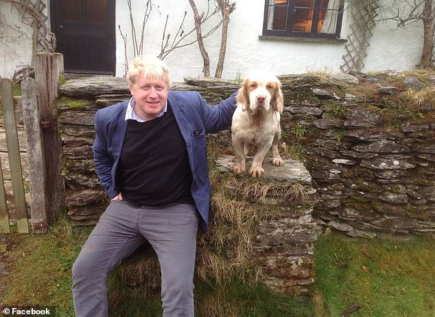 A picture posted on the couple's social media showing Boris Johnson meeting their dog, also called Boris