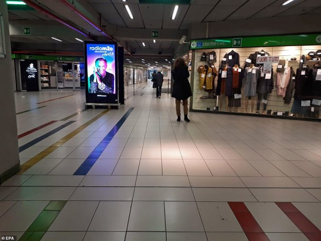Garibaldi station in Milan is deserted after the region was placed on partial lockdown amid the rapid spread of coronavirus