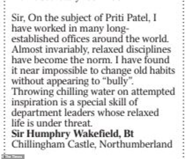 Sir Humphry's letter in the Times today