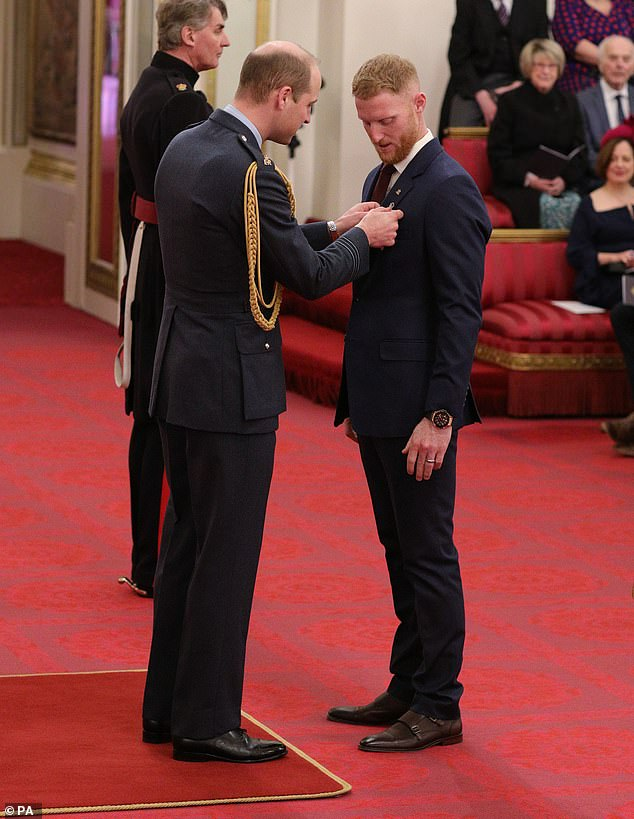 Stokes enjoyed an incredible year after starring in England's Cricket World Cup triumph (he is pictured receiving an OBE at Buckingham Palace today)