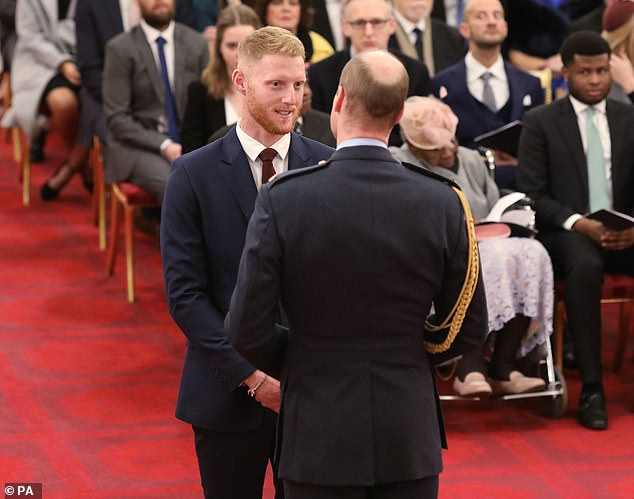 It is a story of redemption for Stokes, who in 2018 was cleared of affray charges following an incident outside a Bristol nightclub in September of the previous year (pictured, receiving his honours today)