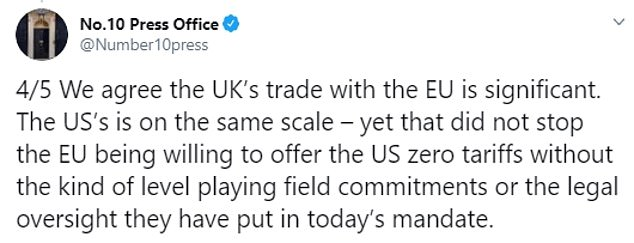 In a stinging rebuttal tonight, No10 dismissed the EU demands saying it will not compromise on the UK's 'legal autonomy'