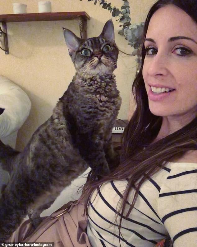 Furever home: Barbara, previously named Belle, was one of actress and animal rights activist Beth Stern's fosters before she was adopted by Sarah Borok (pictured)