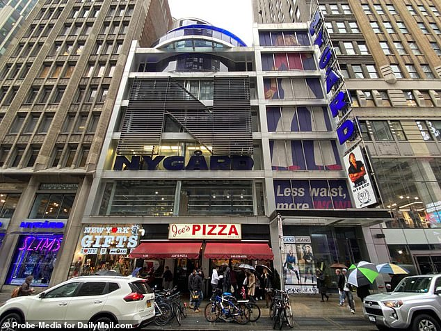 The exterior of the building in Time's Square. There was no sign of Nygard