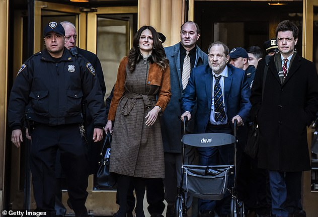 These were vulnerable women he was targeting, women for whom an audience with someone as powerful as Weinstein would have represented a rare opportunity. Of course they wanted to please him, yes, even after he had defiled them. And that is what I think will strike a chord with many women (he is pictured leaving court on February 14 with lawyerDonna Rotunno)