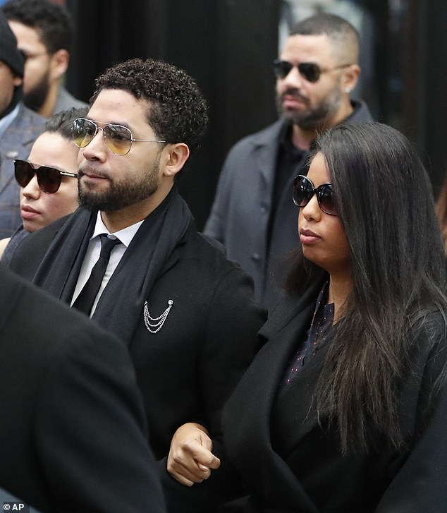 Smollett's sisters, Jurnee (left) and Jazz (right) also accompanied him to court