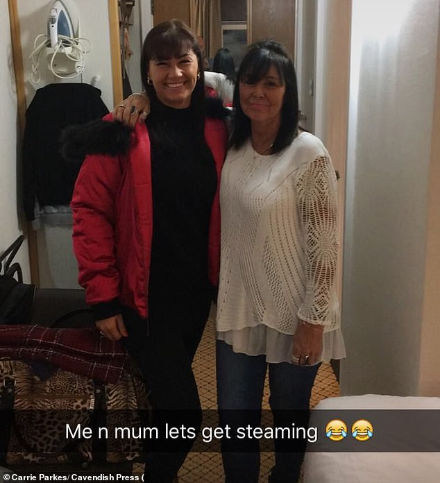 The incident took place after easyJet flight EZ1905 took off on January 19 last year from Terminal One, Manchester (pictured, Carrie Parkes, left, with mother Karin)