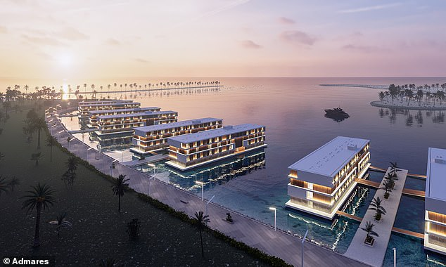 A rendering showing the bizarre floating hotels that football fans heading to the 2022 World Cup in Qatar will be able to stay in