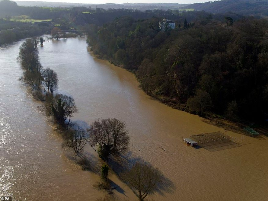 Flooding in Bewdley, Worcestershire, today as the River Severn remains high, with warnings of further flooding across the UK