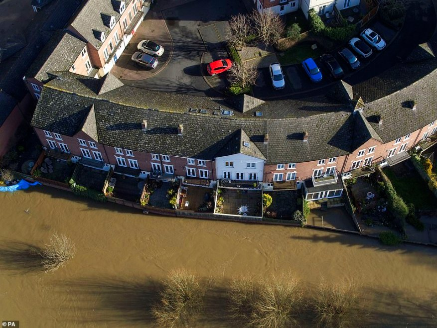 Flooding in Bewdley, Worcestershire, as the River Severn remains high today, with warnings of further flooding across the UK