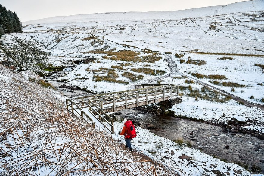 There was also snow around Pen y Fan mountain in the Brecon Beacons National Park, Wales, yesterday