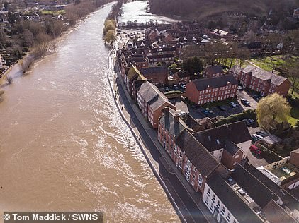 An aerial view of flooded Bewdley in Worcestershire today