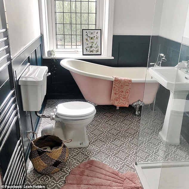 A British woman has stunnedFacebook 's DIY On A Budget UK, after unveiling how she transformed her spare bedroom into a bathroom (pictured)