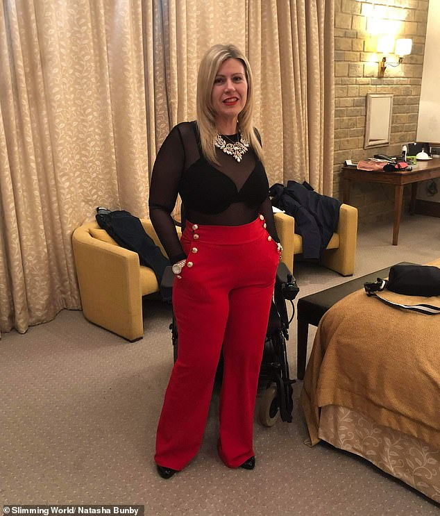 The mother-of-two now helps others on their weight loss journey and has been named Slimming World's Top Target Consultant of the year. Pictured, Natasha after her weight loss