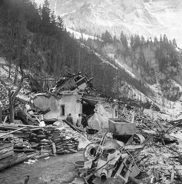 An explosion at the munitions store in 1947 (pictured) killed nine villagers inMitholz