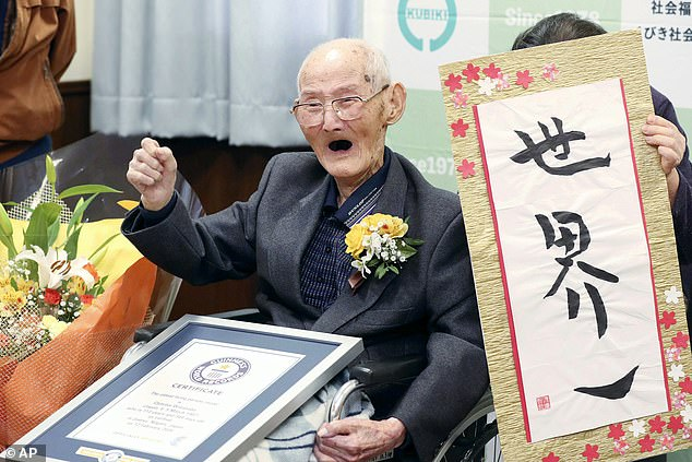 Rather than cracking open a bottle of bubbly, Mr Weighton concluded it would not be appropriate to celebrate someone else's demise and simply vowed to carry on carrying on. Pictured: The world's previous oldest man, Chitetsu Watanabe, died on Tuesday