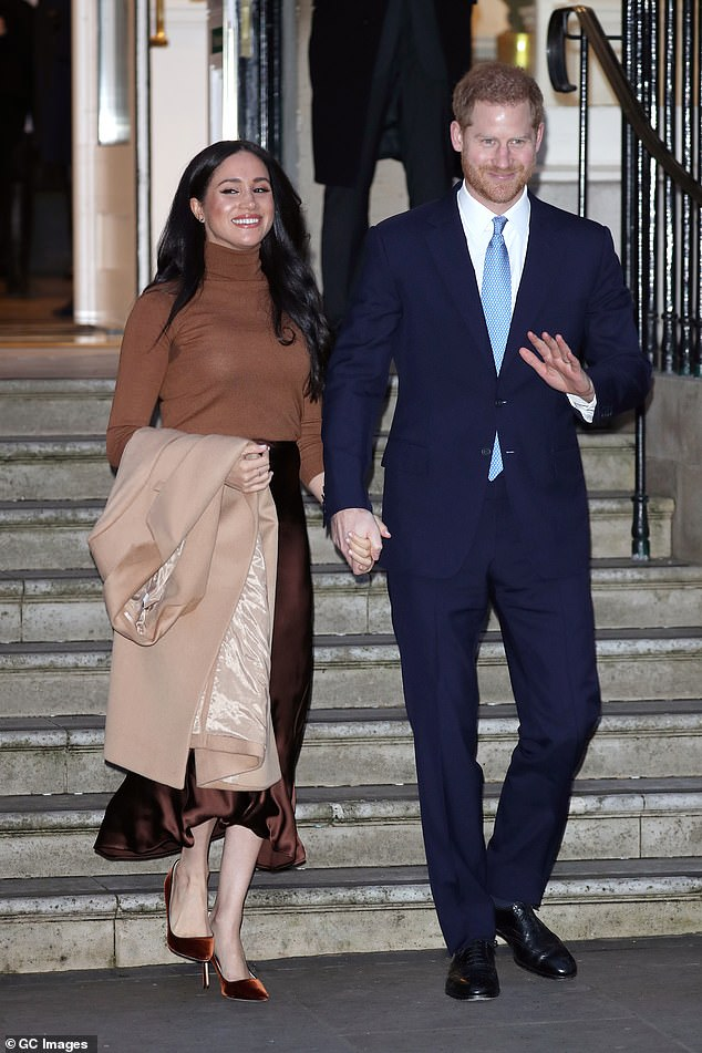 This morning Prince Harry, 35, and Meghan Markle, 38, seen in London last month, shared a post promoting his visit to Scotland, which aimed to look at how local tourism can protect the environment and support local communities