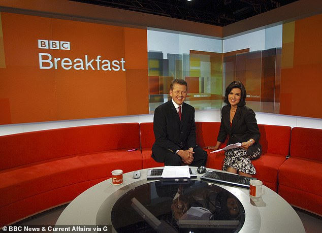 The duo used to present BBC Breakfast together (pictured in 2006) and Susanna says it was 'wonderful' to see him after their decade of shared experience