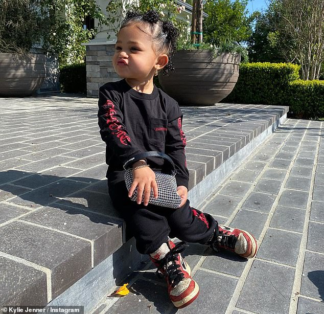 Confident: Stormi wasn't too concerned with being photogenic as she puffed out her lips