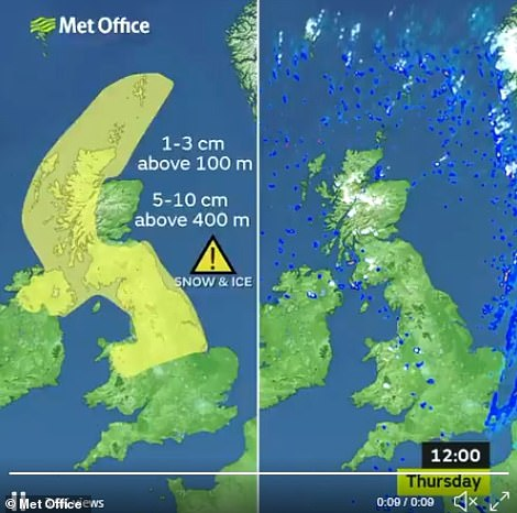 A Met Office graphic shows the areas most affected by snow as Britain wakes up on Thursday