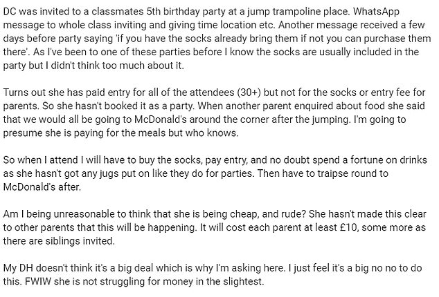 Taking to Mumsnet, one mother expressed her displeasure (above) at having to fork out the extra cash for special socks and food, after the boy's parent failed to book the 'party' package