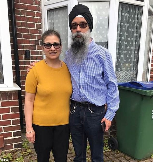 Jasbir Kaur, 52, and her husband Rupinder Singh Bassan, 51, (pictured) were found dead from serious injuries at their semi-detached house in Oldbury, in the West Midlands, on Tuesday