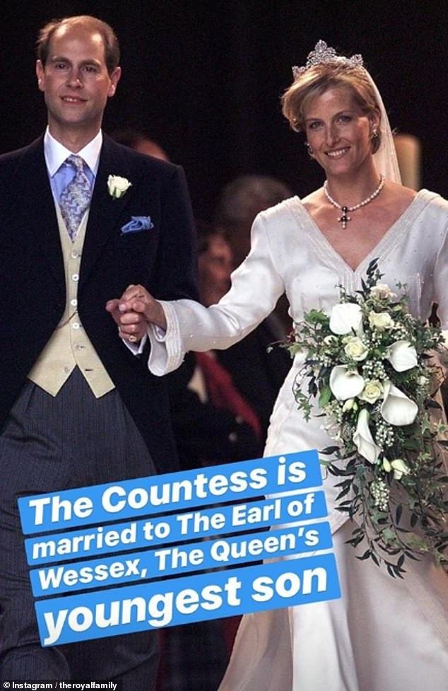 A picture of Sophie's wedding to Prince Edward was also shared. The couple celebrated their 20 years anniversary on19 June 2019