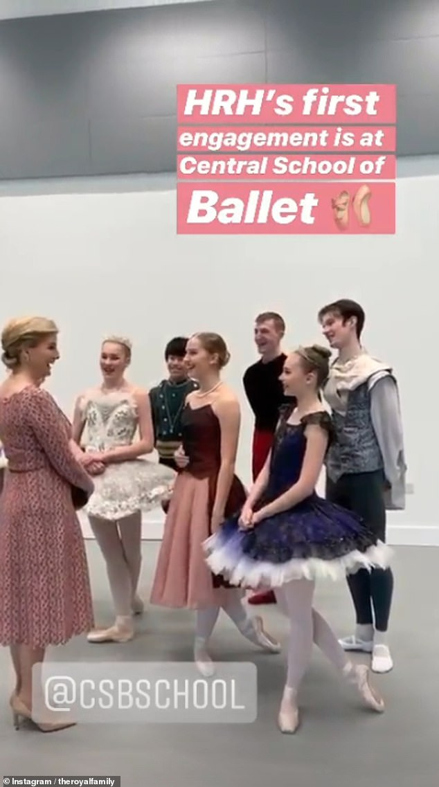This morning, Sophie met with dancers and staff at theCentral School of Ballet, in London (pictured)
