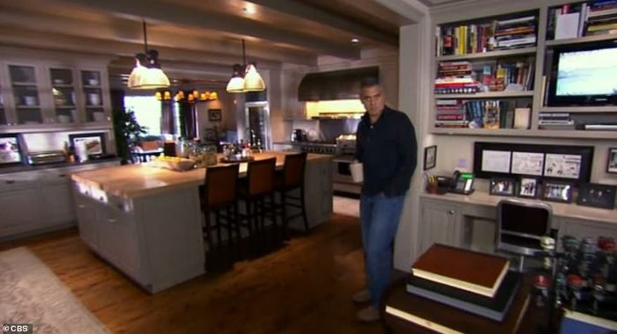 The tour was years before he met his now-wife Amal Clooney, and showed his kitchen with his massive island