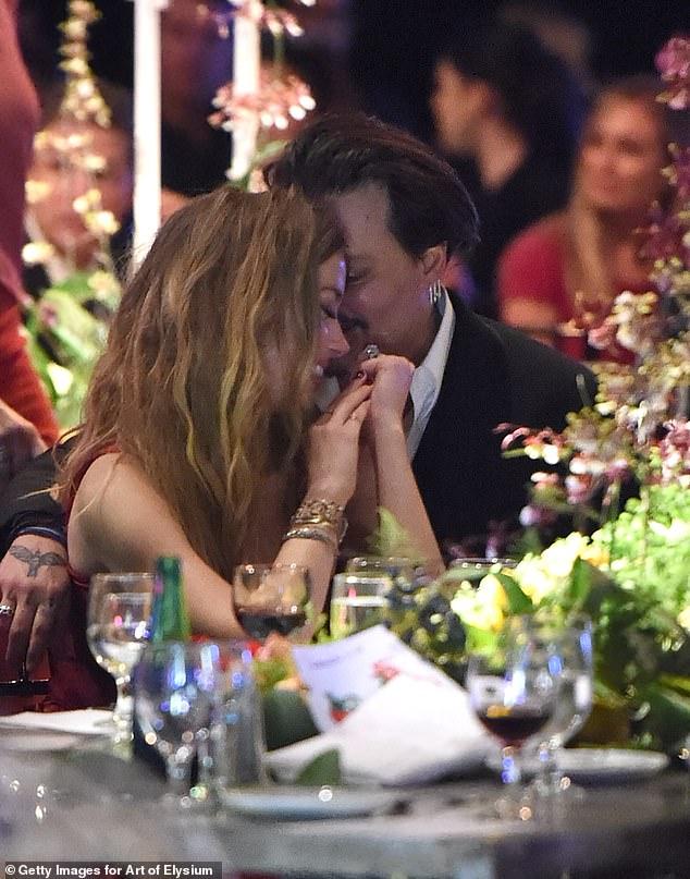 Amber Heard and Johnny Depp attend The Art of Elysium 2016 HEAVEN Gala, Culver City, California, January 2016