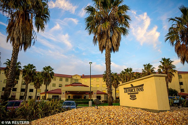 T facilityat Travis Air Force Base where the Department of Defense provided temporary lodging support for Americans evacuated from China