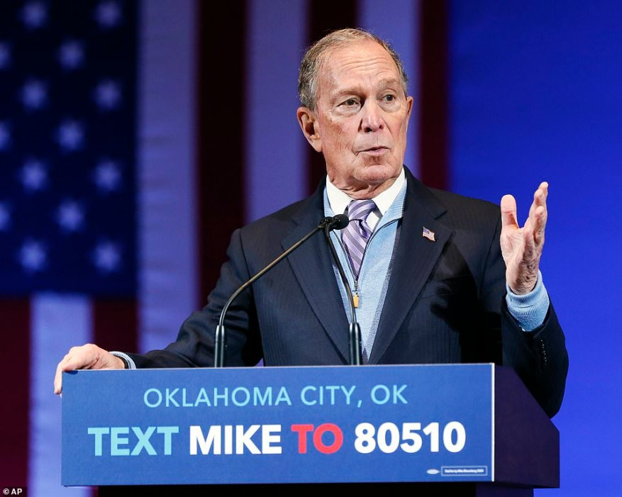 Bloomberg is pictured speaking during a campaign event at the Bricktown Events Center in Oklahoma City, Oklahoma, on Thursday. His campaign announced the same day that he had his last annual health exam in July, and underwent an annual cardiac stress test at the John Hopkins Hospital