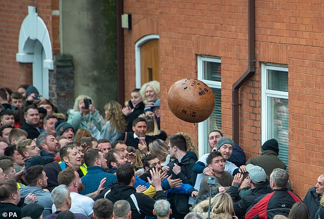 The Atherstone Ball Game is played each year since the 12th century by teams from Warwickshire and Leicestershire