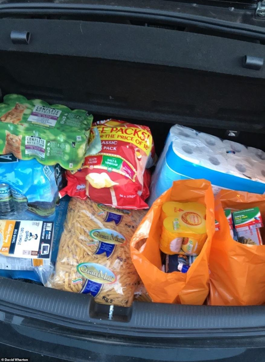 MailOnline reader David Wharton filled his boot with enough staples like pasta and loo roll to last him for weels